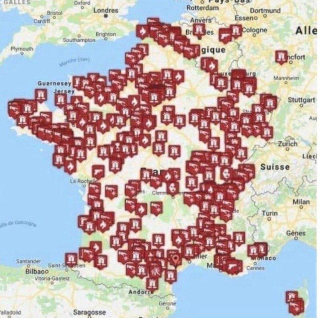 Христианские храмы, уничтоженные и оскверненные во Франции в период 206-2020 гг.